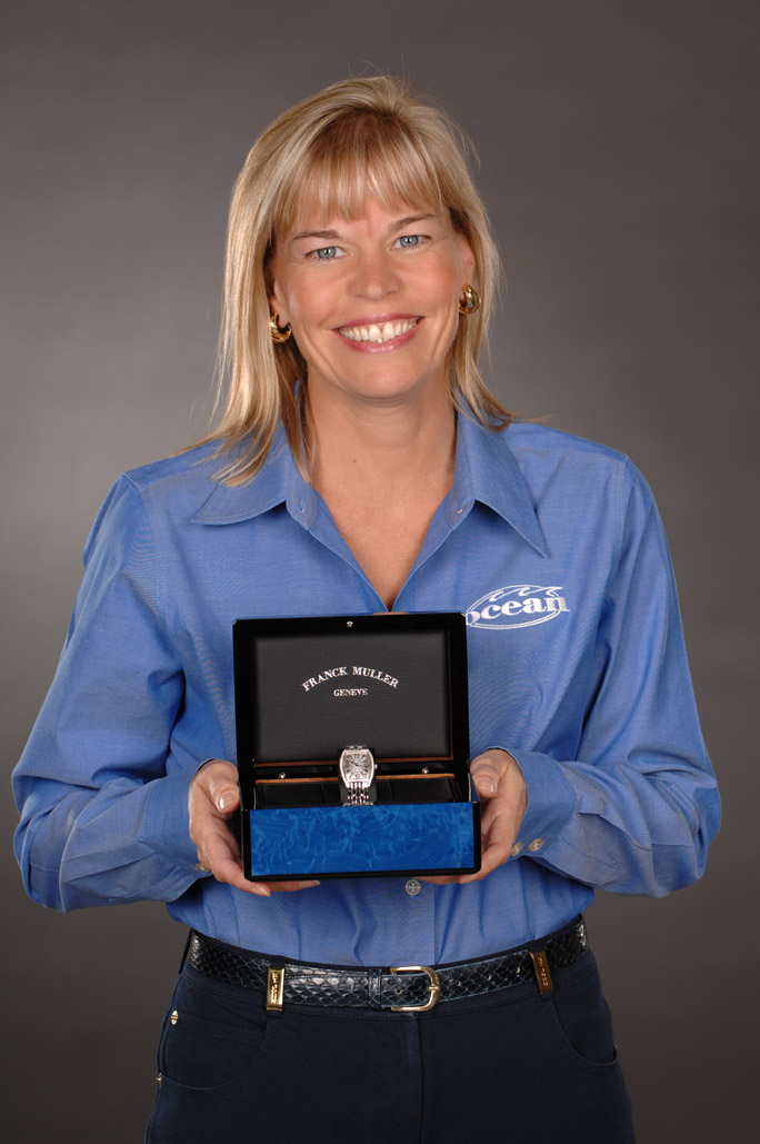 Karen Castorina and her 10 year Service Award from Ocean Machinery