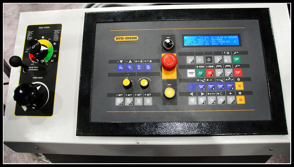 The control panel for the all new Ocean Terminator DCM 1825 dual column double mitering band saw