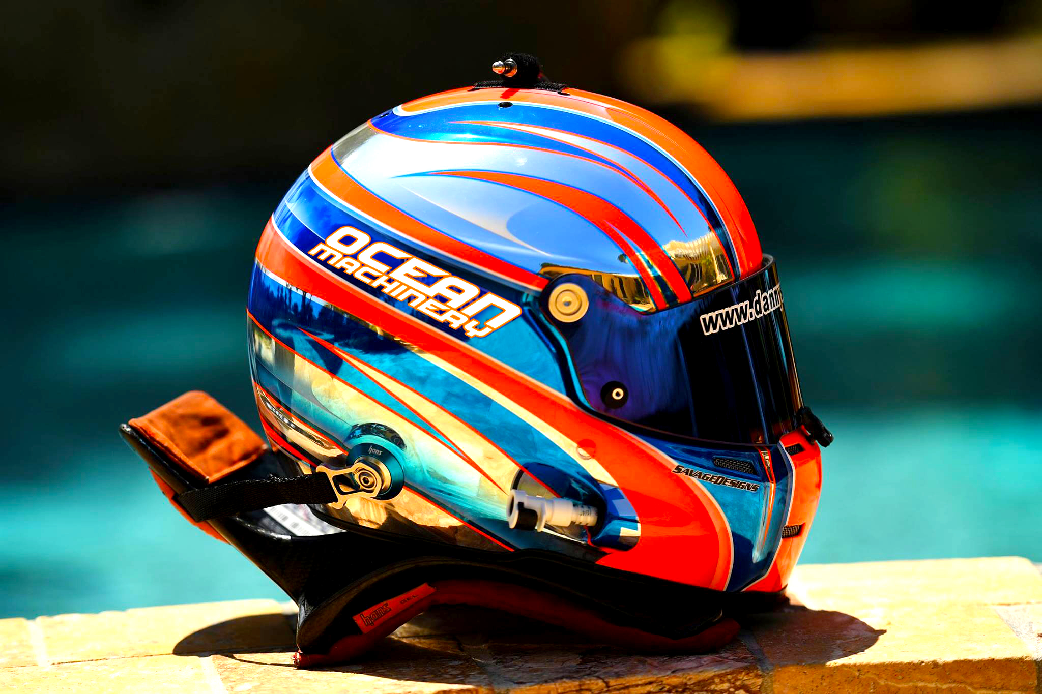 Ocean Machinery logo on helmet