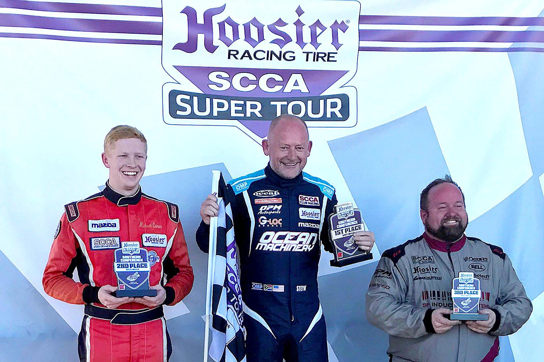 Top spot on the Spec Miata podium (l-r: Michael Carter, Danny Steyn, Blake Clements)