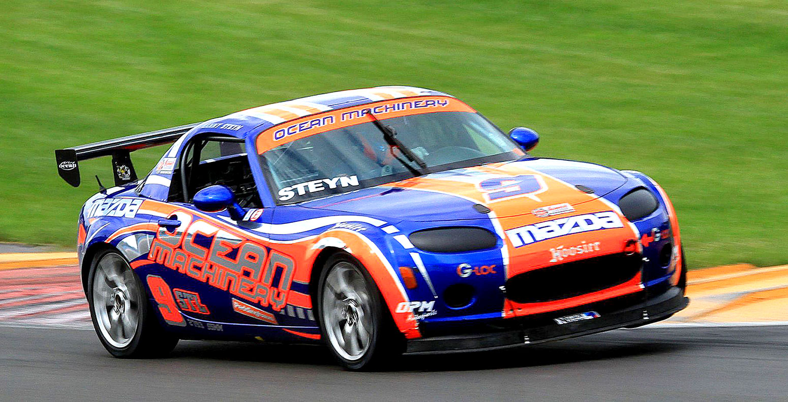 Danny Steyn setting another lap record in the STL class Ocean Machinery Mazda MX-5