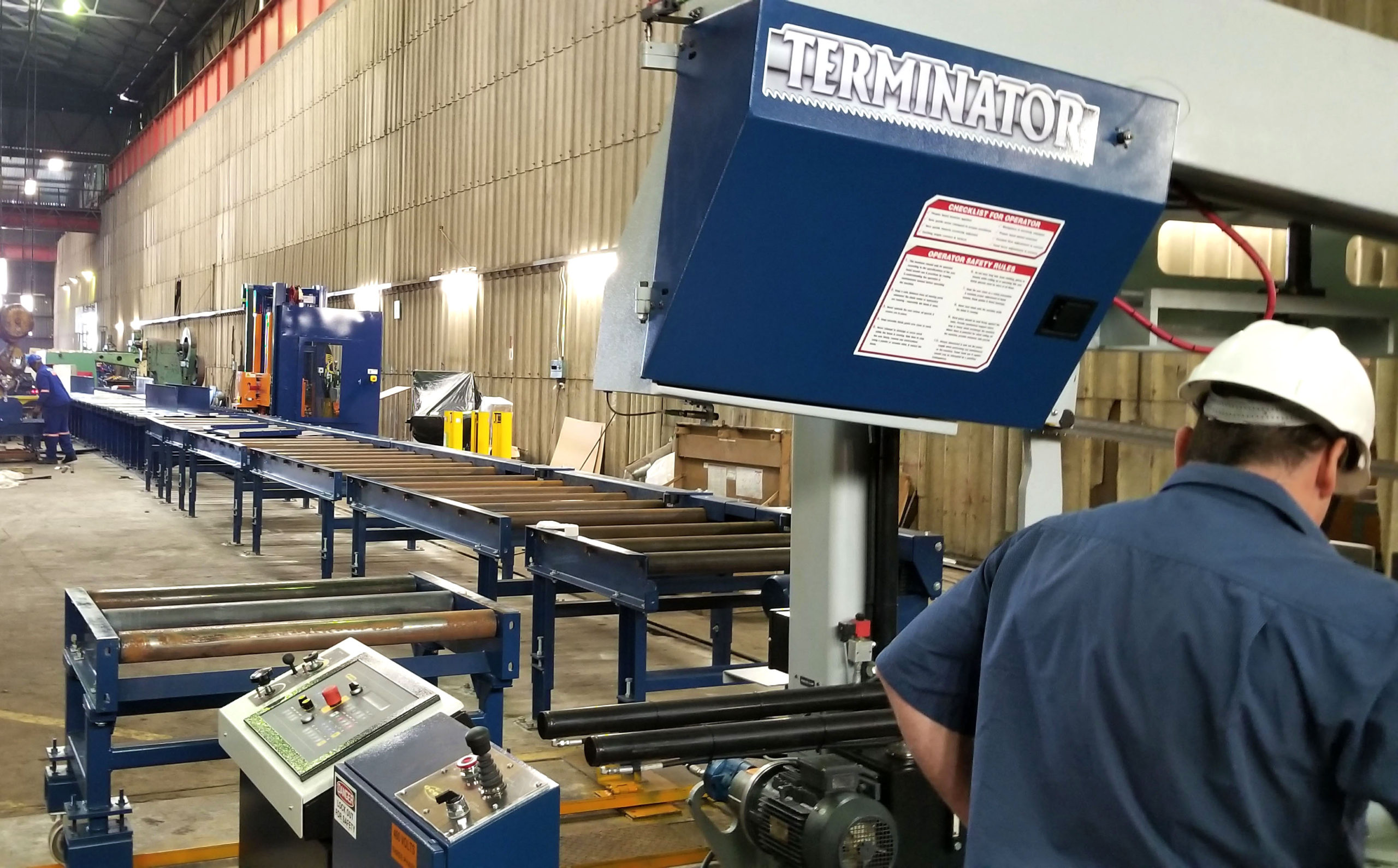 Recent installation: dual column Terminator Band Saw and Ocean Avenger PLUS CNC Drill Line